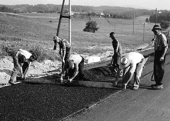 Road construction site in the 1950s